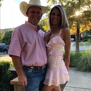 XS For Love & Lemons pink gingham dress